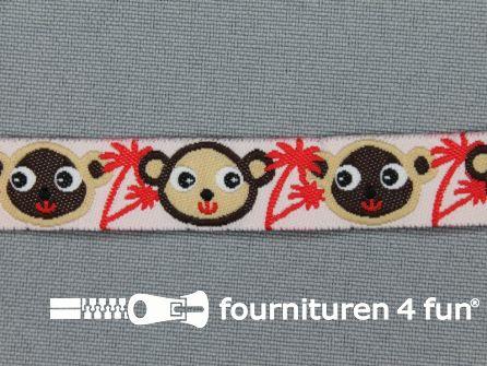 Kinderband 14mm aapjes rood