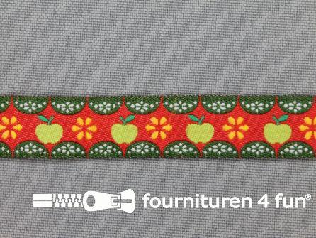 Kinderband 14mm appeltjes brique rood