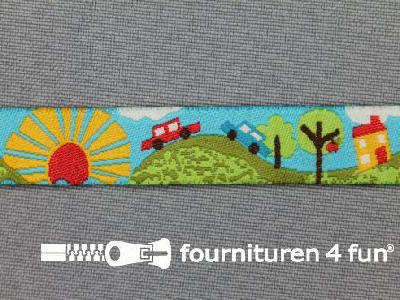 Kinderband 14mm auto - zon zee groen