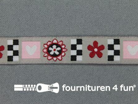 Kinderband 14mm blokjes - bloemetjes - hartjes