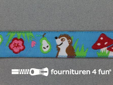 Kinderband 16mm paddenstoel - egel blauw