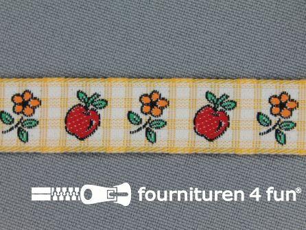 Kinderband 15mm appel - bloem geel