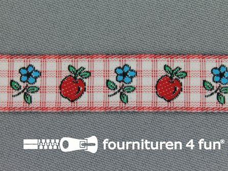 Kinderband 15mm appel - bloem rood