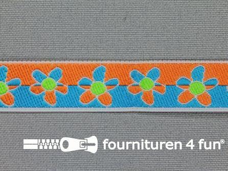 Kinderband 15mm bloemetjes aqua blauw - oranje