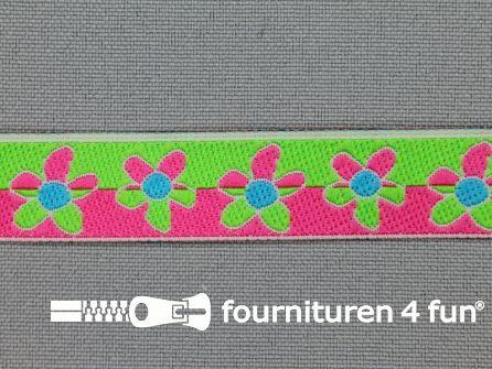 Kinderband 15mm bloemetjes lime groen - roze