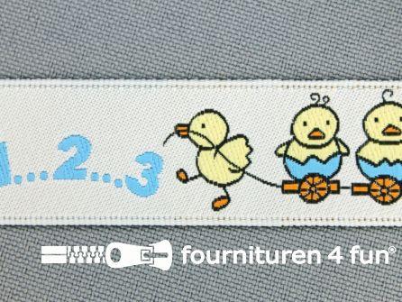 Kinderband 20mm kuikentjes blauw