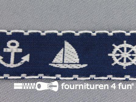 Kinderband 20mm matroos blauw - wit