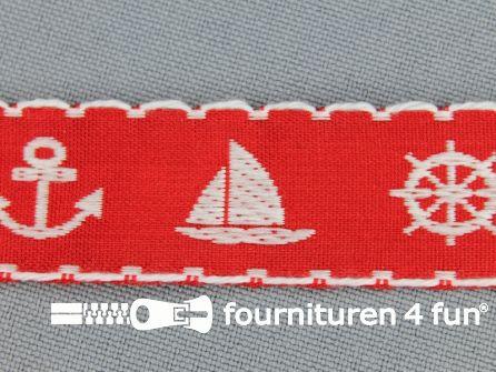 Kinderband 20mm matroos rood - wit
