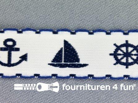 Kinderband 20mm matroos wit - blauw