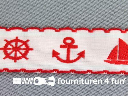 Kinderband 20mm matroos wit - rood