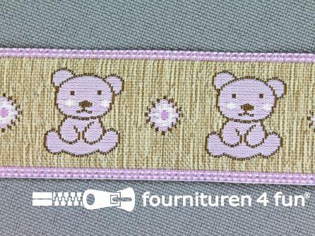 Kinderband 25mm beertjes beige - lila