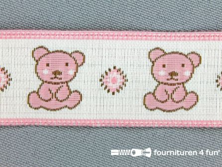Kinderband 25mm beertjes wit - roze