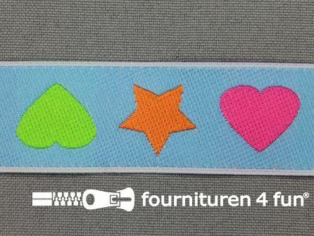 Kinderband 25mm hartje - ster blauw
