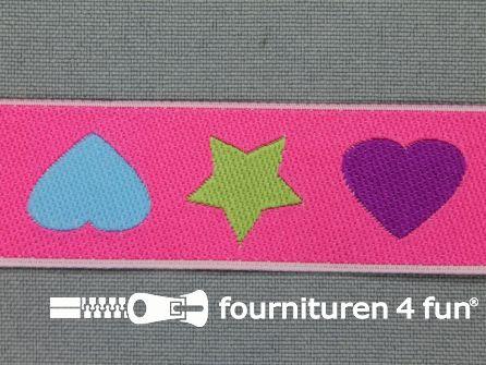 Kinderband 25mm hartje - ster roze