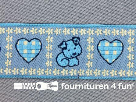 Kinderband 25mm hartje - hond blauw