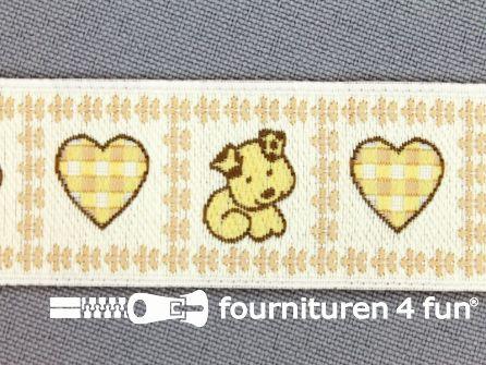 Kinderband 25mm hartje - hond geel