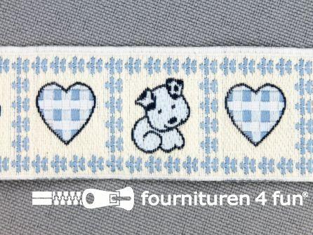 Kinderband 25mm hartje - hond licht blauw