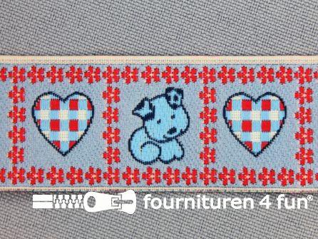 Kinderband 25mm hartje - hond rood