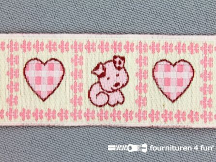 Kinderband 25mm hartje - hond roze