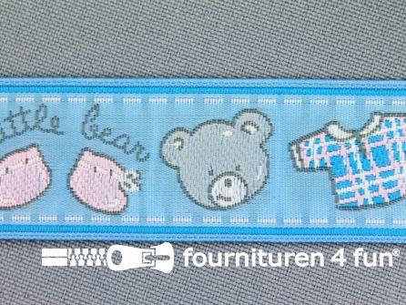 Kinderband 25mm little bear blauw
