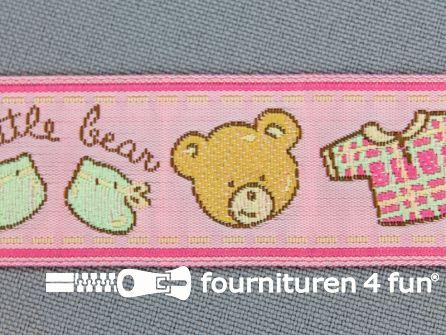 Kinderband 25mm little bear roze