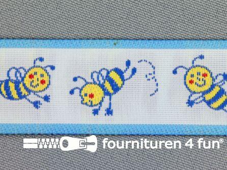 Kinderband 25mm vrolijke bij blauw
