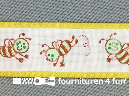 Kinderband 25mm vrolijke bij geel