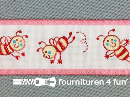 Kinderband 25mm vrolijke bij roze