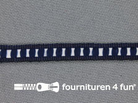 Modern band 6mm ribbel marine blauw