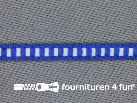 Modern band 6mm ribbel kobalt blauw