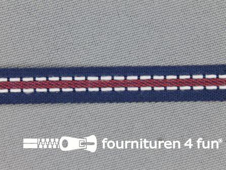 Modern band 8mm stippellijn marine blauw - rood
