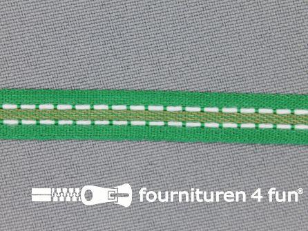 Modern band 8mm stippellijn groen - beige