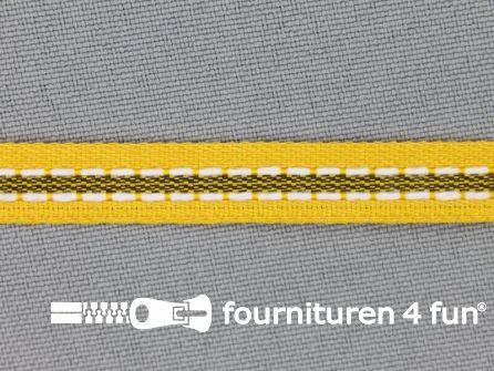 Modern band 8mm stippellijn geel - zwart