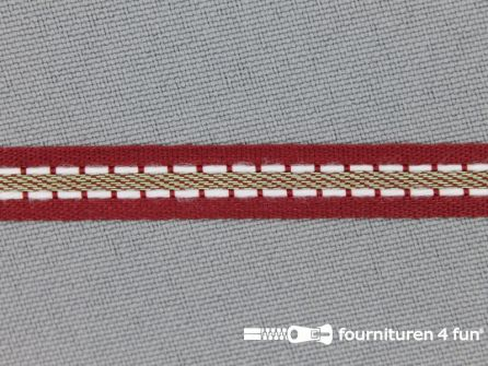 Modern band 8mm stippellijn bordeaux rood - groen