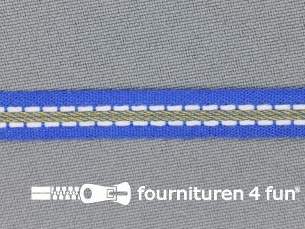Modern band 8mm stippellijn kobalt blauw - wit