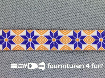 Modern band 11mm mozaiek oranje - blauw