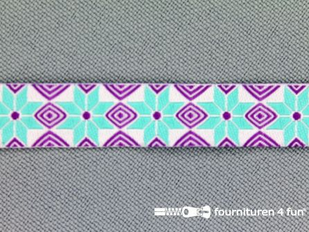 Modern band 11mm mozaiek paars - turquoise