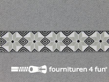 Modern band 11mm mozaiek zwart - grijs