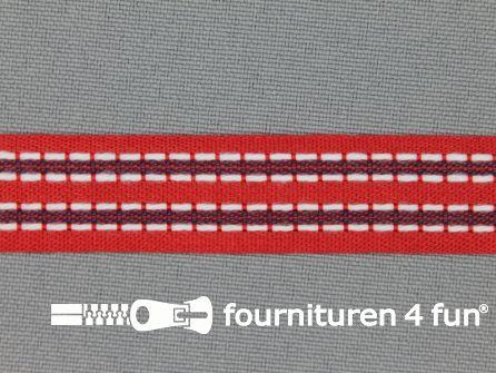 Modern band 15mm stippellijn rood - blauw
