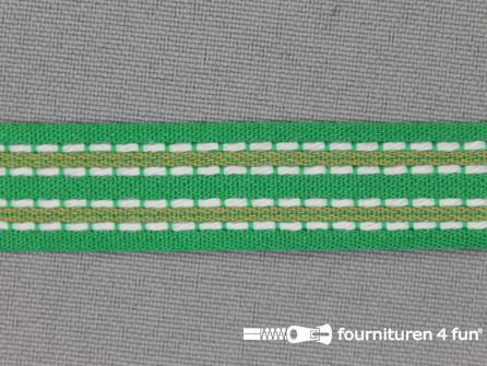 Modern band 15mm stippellijn groen - beige