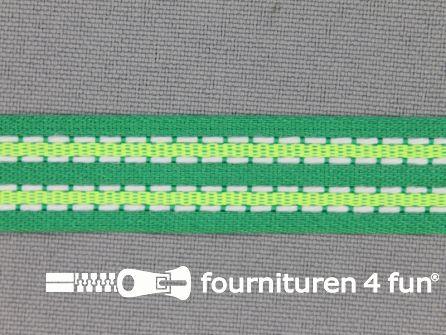 Modern band 15mm stippellijn groen - neon groen
