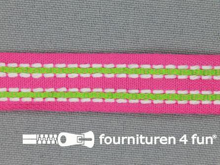 Modern band 15mm stippellijn roze - lime groen
