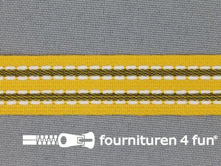 Modern band 15mm stippellijn geel - zwart