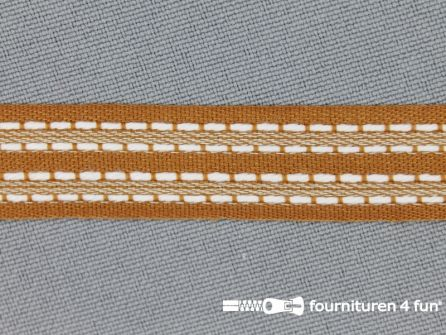 Modern band 15mm stippellijn camel - wit