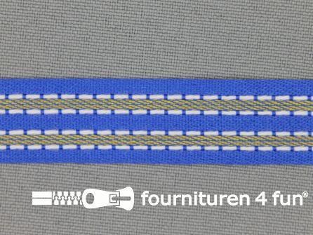 Modern band 15mm stippellijn kobalt blauw - wit