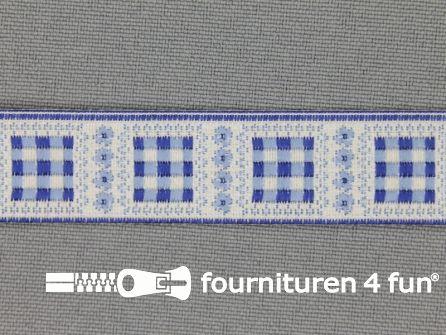 Modern band 16mm geruite blokjes blauw
