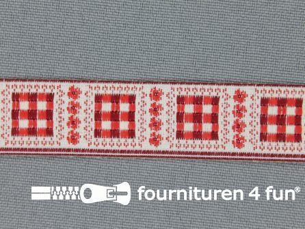 Modern band 16mm geruite blokjes rood