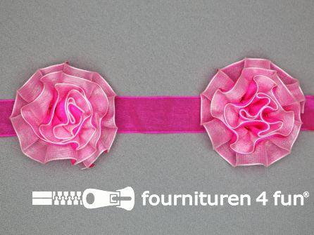 Bloemenkant 60mm fuchsia roze -wit