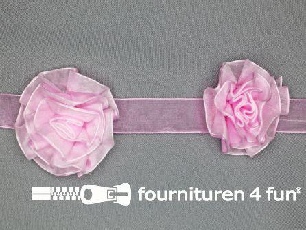 Bloemenkant 60mm barbie roze - wit