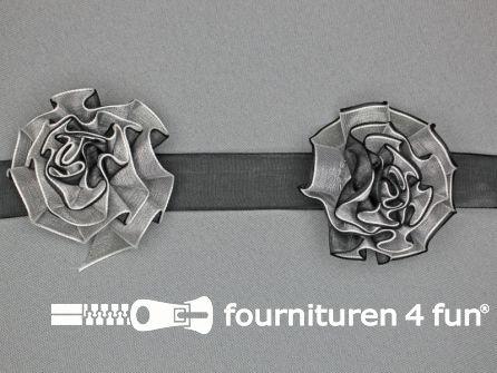 Bloemenkant 60mm zwart - wit